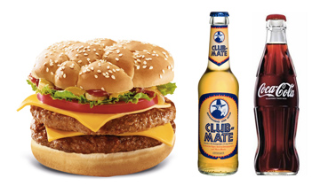 Burger, Clubmate, Cola